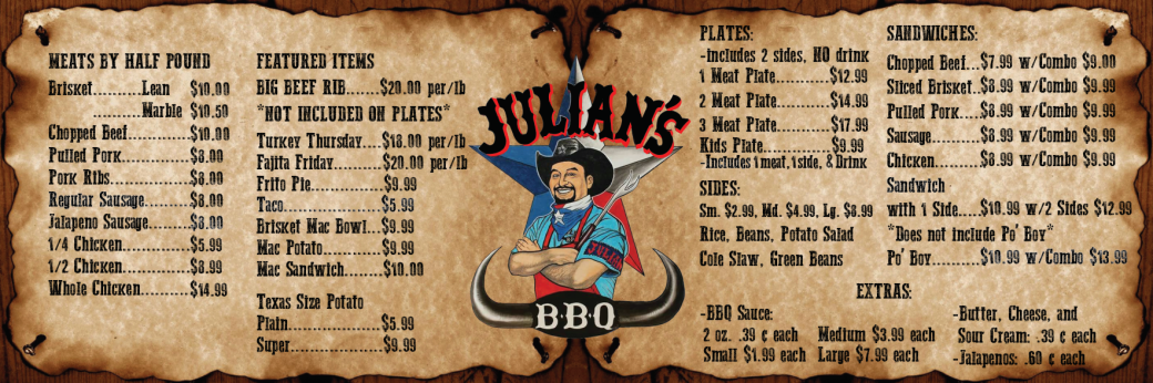 Julians BBQ Menu